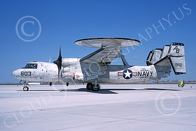 E-2USN 00139 A taxing Grumman E-2 Hawkeye USN 159112 VAW-123 SCREWTOPS USS America NAS Fallon 3-1985 military airplane picture by Michael Grove, Sr