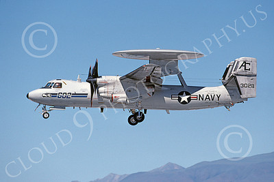 E-2USN 00116 A landing Grumman E-2C Hawkeye USN 163028 VAW-126 SEAHAWKS USS Harry S Truman NAS Fallon 6-2000 military airplane picture by Michael Grove, Sr