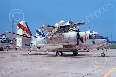 S-2USN 00065 A static Grumman S-2G Tracker USN 152372 VS-24 DUTY CATS USS Intrepid NAS Quonset Pt 7-1973 military airplane picture by Don Spering