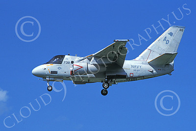 S-3USN 00012 A landing Lockheed S-3 Viking USN VS-27 GRIM WATCHDOGS 6-1989 military airplane picture by Barry E Roop