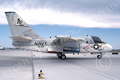 S-3USN 00155 A taxing Lockheed S-3A Viking USN 160155 VS-28 PROFESSIONALS commading officer's USS Forrestal NAS Fallon 6-1987 military airplane picture by Michael Grove, Sr