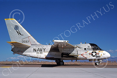 S-3USN 00161 A taxing Lockheed S-3A Viking USN VS-28 PROFESSIONALS USS Carl Vinson with bombs NAS Fallon 6-1987, by Michael Grove, Sr
