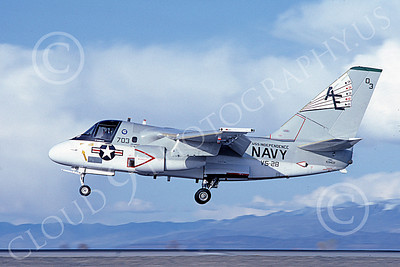 S-3USN 00014 A landing Lockheed S-3 Viking USN 159402 VS-28 PROFESSIONALS USS Independence NAS Fallon 4-1983 military airplane picture by Michael Grove, Sr