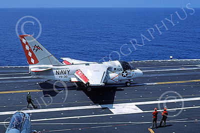 S-3USN 00137 A Lockheed S-3A Viking USN 160143 VS-30 DIAMOND CUTTERS USS Saratoga on USS Saratoga 6-1985 military airplane picture by Bill Kling