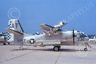S-2USN 00053 A static Grumman S-2E Tracker USN 152363 VS-32 YELLOW TAILS NAS Quonset Pt 7-1973 military airplane picture by Don Spering
