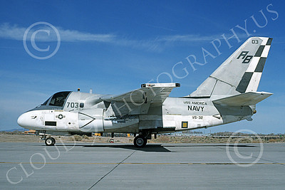 S-3USN 00045 A taxing Lockheed S-3 Viking USN 160145 VS-32 YELLOW TAILS USS America NAS Fallon 3-1995 military airplane picture by Michael Grove, Sr