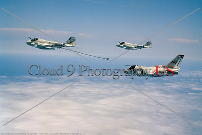 S-3USN-VS-33 002 A flying Grumman KA-6D Intruder USS Kitty Hawk NH tail code refuels a Lockheed S-3 Viking USN VS-33 SCREWBIRDS commander's airplane NH tail code 7-1980 military airplane picture by Robert L Lawson    Dwt