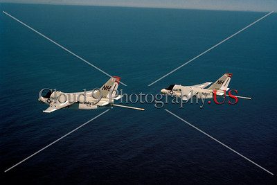 S-3USN-VS-33 002 Two flying Lockheed S-3A Vikings USN anti-submarine warfare airplanes VS-33 SCREWBIRDS NH tail code 5-1977 military airplane picture by Robert L Lawson     Dwt