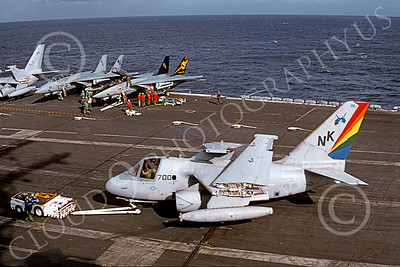 S-3USN 00123 A Lockheed S-3A Viking USN VS-35 BOOMERANGERS is towed on USS Abraham Lincoln 12-1997 military airplane picture by David Pelton