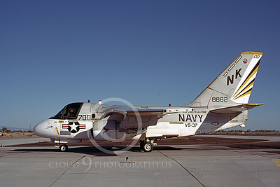 S-3USN 00301 A taxing Grumman S-3 Viking USN 8862 VS-37 ROOSTER-TAILS USS Constellation NAS Fallon 9-1984 airplane picture by Michael Grove, Sr