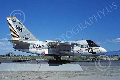 S-3USN 00047 A taxing Lockheed S-3 Viking USN 0584 VS-37 ROOSTER-TAILS USS Enterprise NAS Fallon 6-1982 military airplane picture by Michael Grove, Sr