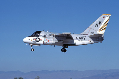 S-36USN 00300 A landing Grumman S-3 Viking USN 012 VS-37 ROOSTER-TAILS USS Constellation NAS Fallon 9-1984 airplane picture by Michael Grove, Inc
