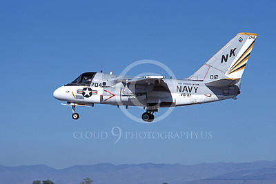 S-3USN 00300 A landing Grumman S-3 Viking USN 012 VS-37 ROOSTER-TAILS USS Constellation NAS Fallon 9-1984 airplane picture by Michael Grove, Inc