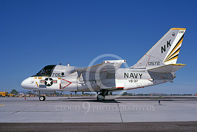 S-3USN 00313 A taxing Lockheed S-3 Viking USN 0572 VS-37 ROOSTER-TAILS USS Constellation 9-1984 airplane picture by Michael Grove, Sr