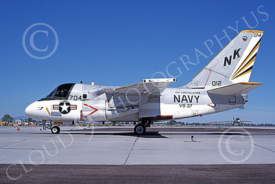 S-3USN 00041 A taxing Lockheed S-3 Viking USN 16012 VS-37 ROOSTER-TAILS USS Constellation NAS Fallon 9-1984 military airplane picture by Michael Grove, Sr