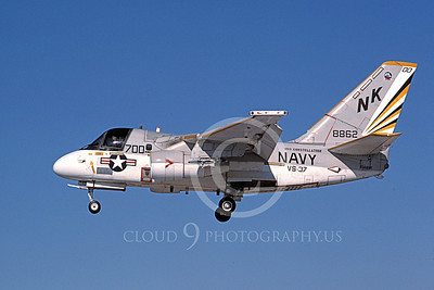 S-3USN 00304 A landing Grumman S-3 Viking USN 8862 VS-37 ROOSTER-TAILS 9-1984 airplane picture by Michael Grove, Inc