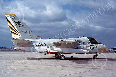 S-3USN 00015 A static Lockheed S-3 Viking USN 160586 VS-37 ROOSTER-TAILS USS Constellation NAS North Island 9-1978 military airplane picture by Michael Grove, Sr
