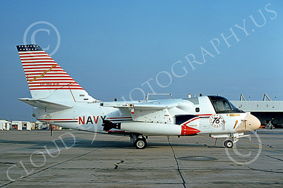 S-3USN 00115 A static Lockheed S-3A Viking USN 160120 VS-41 SHAMROCKS BICENTENNIAL Don't Tread on Me NAS Lemoore 11-1976 military airplane picture by Michael Grove, Sr