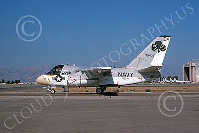 S-3USN 00055 A taxing Lockheed S-3 Viking USN 159408 VS-41 SHAMROCKS NAS Moffett 12-1975 military airplane picture by Michael Grove, Sr