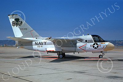 S-3USN 00133 A static Lockheed S-3A Viking USN 159388 VS-41 SHAMROCKS NAS North Island 8-1974 military airplane picture by Michael Grove, Sr