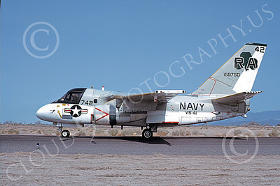 S-3USN 00057 A taxing Lockheed S-3 Viking USN 159750 VS-41 SHAMROCKS NAS Fallon 4-1980 military airplane picture by Michael Grove, Sr