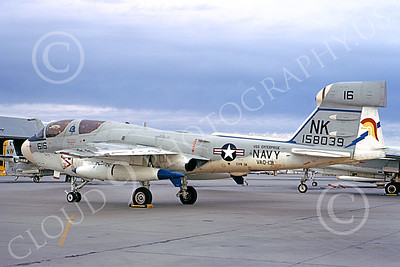 EA-6BUSN 00333 A static Grumman EA-6B Prowler USN 158039 VAQ-131 LANCERS USS Enterprise NAS Lemoore 11-1973 military airplane picture by Michael Grove, Sr