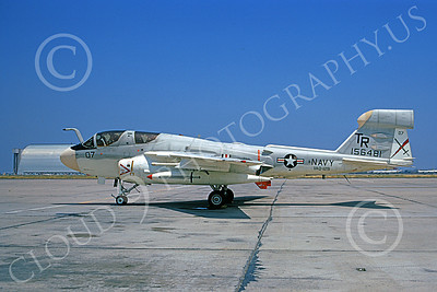 EA-6BUSN 00331 A static Grumman EA-6B Prowler USN 156481 VAQ-129 VIKINGS NAS Moffett 7-1973 military airplane picture by Michael Grove, Sr