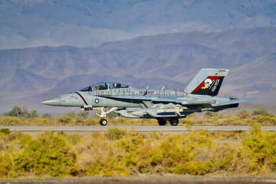 EA-18-USN-VAQ-133 002 A Boeing EA-18G Growler USN electronic attack aircraft, VAQ-133 WIZARDS, NG tail code, rolling out on NAS Fallon's runway after landing, 9-2021, military airplane picture by Peter J  Mancus  852_1924  T