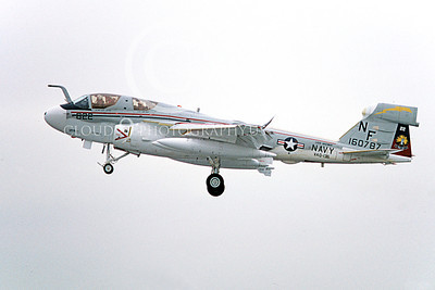 EA-6BUSN 00352 A landing Grumman EA-6B Prowler USN 160787 VAQ-136 GAUNTLETS USS Midway 2-1980 military airplane picture by Michael Grove, Sr