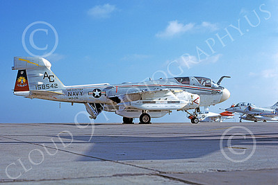 EA-6BUSN 00305 A static Grumman EA-6B Prowler USN 158542 VAQ-136 GAUNTLETS USS Saratoga NAS Miramar 8-1979 military airplane picture by Tom Chee