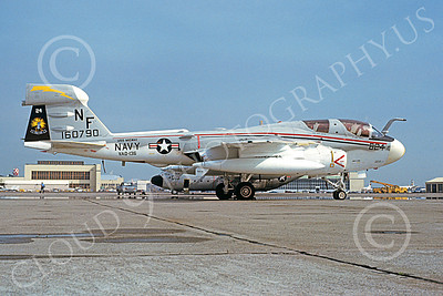 EA-6BUSN 00337 A static Grumman EA-6B Prowler USN 160790 VAQ-136 GAUNTLETS USS Midway NAS Alameda 2-1980 military airplane picture by Michael Grove, Sr