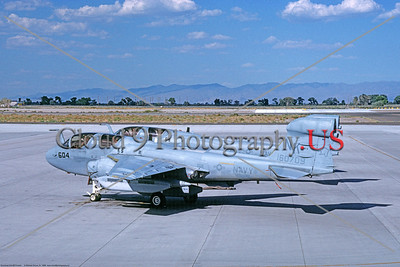 EA-6B-USN-VAQ-139 001 A static Grumman EA-6B Prowler USN 160709 VAQ-139 COUGARS USS Constellation NAS Fallon 6-1988 military airplane picture by Michael Grove, Sr      Dt