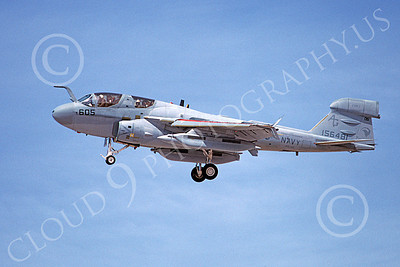 EA-6BUSN 00300 A landing Grumman EA-6B Prowler USN 154681 VAQ-140 PATRIOTS USS Dwight D Eisenhower 3-1989 military airplane picture by Michael Grove, Sr