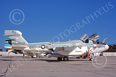 EA-6BUSN 00317 A static Grumman EA-6B Prowler USN 159909 VAQ-135 BLACK RAVENS USS Nimitz NAS North Island 8-1977 military airplane picture by Michael Grove, Sr