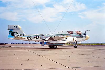 EA-6B-USN-VAQ-135 001 A taxing Grumman EA-6B Prowler, USN carrier based electronic jammer, 159908, VAQ-135 BLACK RAVENS, USS Nimitz, AJ tail code, 2-1978 Miramar, military airplane picture by Stephen W  D  Wolf   DDD_5162   Dt