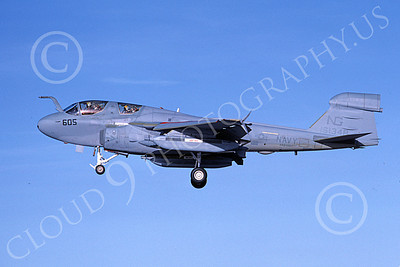 EA-6BUSN 00400 A landing Grumman EA-6B Prowler USN 161348 VAQ-138 YELLOWJACKETS 3-1983 military airplane picture by Michael Grove, Sr