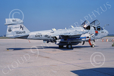 EA-6BUSN 00381 A static Grumman EA-6B Prowler USN 158649 VAQ-209 STAR WARRIORS USS John F Kennedy Andrews AFB 8-1997 military airplane picture by Bob Davis