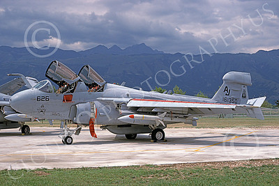 EA-6BUSN 00395 A static Grumman EA-6B Prowler USN 161350 VAQ-209 STAR WARRIORS USS Theodore Roosevelt 8-1996 military airplane picture by Michael Grove, Sr