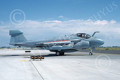 EA-6AUSN 00007 A taxing low vis gray Grumman EA-6A Prowler USN 156981 VAQ-309 AXEMEN NAS Fallon 6-1986 military airplane picture by Michael Grove, Sr