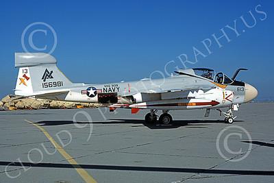 EA-6AUSN 00028 A static Grumman EA-6A Prowler USN 156981 VAQ-309 AXEMEN NAS Alameda 4-1981 military airplane picture by Michael Grove, Sr