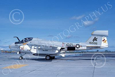 EA-6AUSN 00024 A taxing Grumman EA-6A Prowler USN 151596 VAQ-309 AXEMEN NAS Fallon 5-1983 military airplane picture by Michael Grove, Sr