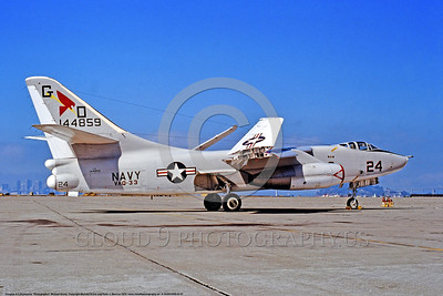 A-3USN-VAQ-33 0001 A static Douglas TA-3B Skywarrior USN 144859 VAQ-33 FIREBIRDS Tactical Electronic Warfare Squadron NAS Alameda 1974 military airplane picture by Michael Grove   DONEwt