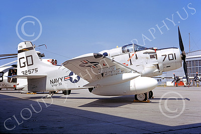 A-1USN 00005 Douglas EA-1F Skyraider USN 132575 VAQ-33 FIREBIRDS NAS Qunset Pt 22 June 1968, military airplane picture, by Thomas S Cuddy