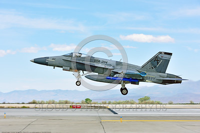 F-18A-USN-VFA-204 0004 A McDonnell Douglas F-18A Hornet USN 162862 adversary VFA-204 RIVER RATTLERS lands at NAS Fallon after a training mission 4-2016 military airplane picture by Peter J  Mancus