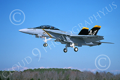 Boeing F-18F-USN 00200 A landing colorful Boeing F-18F Super Hornet USN 166620 VFA-103 JOLLY ROGERS NAS Oceana 12-2004 military airplane picture by David F Brown