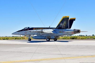 F-18E-USN-VF-105 010 A Boeing F-18E Super Hornet jet fighter USN 166650 VF-105 GUNSLINGERS CAG USS Dwight Eisenhower AC code taxis at NAS Fallon 7-2019, military airplane picture by Peter J  Mancus     852_8417     Dwt