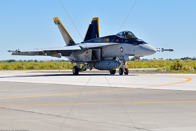 F-18E-USN-VF-105 003 A Boeing F-18E Super Hornet jet fighter USN 166650 VF-105 GUNSLINGERS CAG USS Dwight Eisenhower AC code taxis at NAS Fallon 7-2019, military airplane picture by Peter J  Mancus     854_5086     Dwt