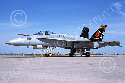 Boeing F-18C-USN 00215 A static colorful Boeing F-18C Hornet USN VFA-113 STINGERS USS Independence NAS Fallon 4-1991 military airplane picture by Michael Grove, Sr