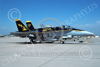 Boeing F-18C-USN 00111 A static McDonnell Douglas F-18C Hornet USN VFA-115 EAGLES CAG NAS Fallon 5-1999 military airplane picture by Michael Grove, Sr
