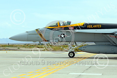 CUNMJ 00175 A Boeing F-18E Super Hornet jet fighter USN VFA-151 Vigilantes taxis at NAS Fallon 7-2014 military airplane picture by Peter J Mancus